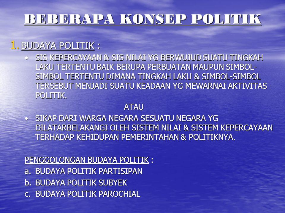 BEBERAPA KONSEP POLITIK 1. BUDAYA POLITIK : SIS KEPERCAYAAN & SIS NILAI YG BERWUJUD SUATU TINGKAH LAKU TERTENTU BAIK BERUPA PERBUATAN MAUPUN SIMBOL- S