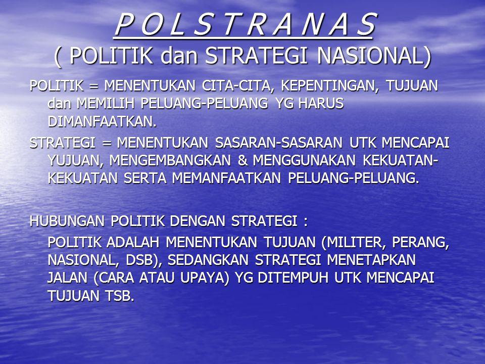 P O L S T R A N A S ( POLITIK dan STRATEGI NASIONAL) POLITIK = MENENTUKAN CITA-CITA, KEPENTINGAN, TUJUAN dan MEMILIH PELUANG-PELUANG YG HARUS DIMANFAA