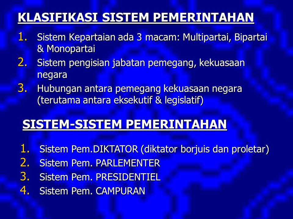 KLASIFIKASI SISTEM PEMERINTAHAN 1. Sistem Kepartaian ada 3 macam: Multipartai, Bipartai & Monopartai 2. Sistem pengisian jabatan pemegang, kekuasaan n