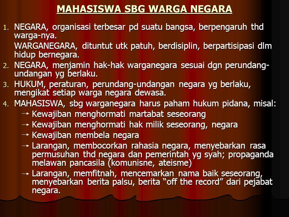 MAHASISWA SBG WARGA NEGARA 1. NEGARA, organisasi terbesar pd suatu bangsa, berpengaruh thd warga-nya. WARGANEGARA, dituntut utk patuh, berdisiplin, be