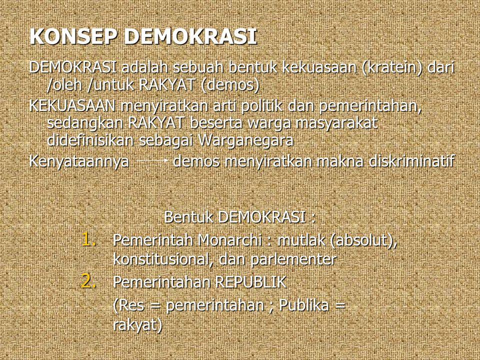 KONSEP DEMOKRASI DEMOKRASI adalah sebuah bentuk kekuasaan (kratein) dari /oleh /untuk RAKYAT (demos) KEKUASAAN menyiratkan arti politik dan pemerintah