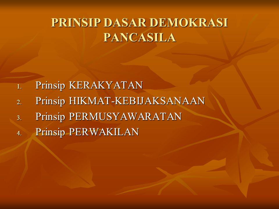 PRINSIP DASAR DEMOKRASI PANCASILA 1. Prinsip KERAKYATAN 2. Prinsip HIKMAT-KEBIJAKSANAAN 3. Prinsip PERMUSYAWARATAN 4. Prinsip PERWAKILAN