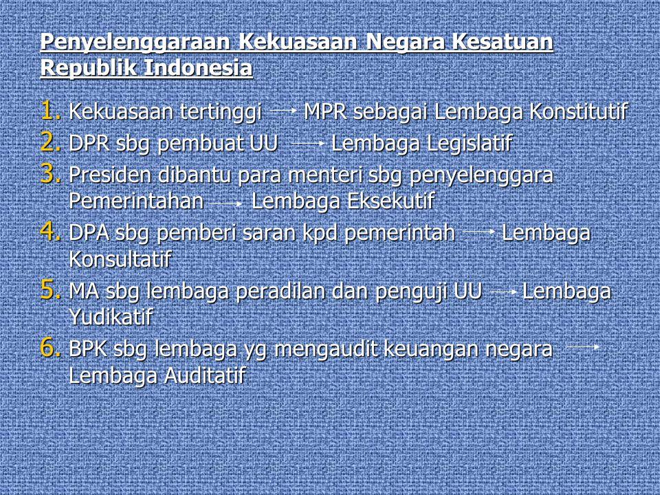 Penyelenggaraan Kekuasaan Negara Kesatuan Republik Indonesia 1. Kekuasaan tertinggiMPR sebagai Lembaga Konstitutif 2. DPR sbg pembuat UU Lembaga Legis
