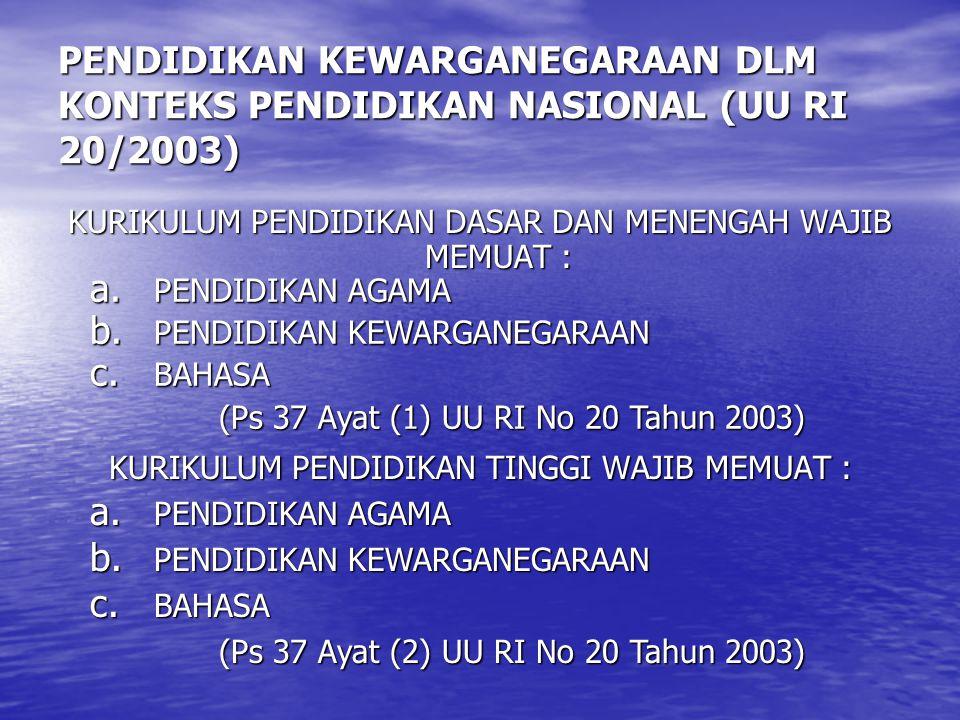 PENDIDIKAN KEWARGANEGARAAN DLM KONTEKS PENDIDIKAN NASIONAL (UU RI 20/2003) KURIKULUM PENDIDIKAN DASAR DAN MENENGAH WAJIB MEMUAT : KURIKULUM PENDIDIKAN