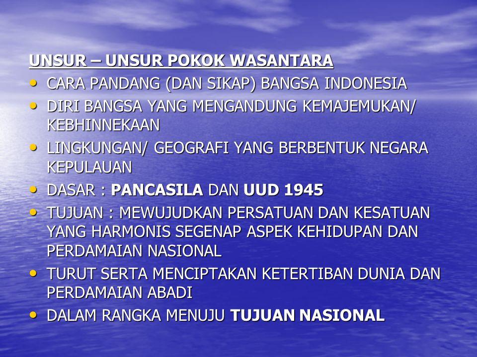 UNSUR – UNSUR POKOK WASANTARA CARA PANDANG (DAN SIKAP) BANGSA INDONESIA CARA PANDANG (DAN SIKAP) BANGSA INDONESIA DIRI BANGSA YANG MENGANDUNG KEMAJEMU