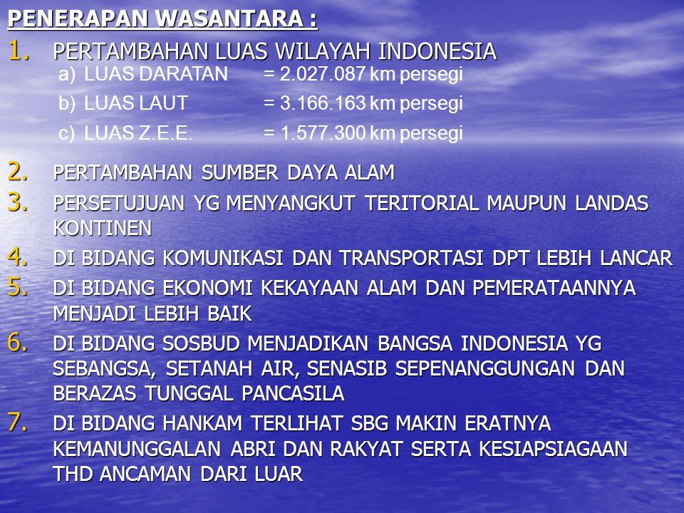 PENERAPAN WASANTARA : 1. PERTAMBAHAN LUAS WILAYAH INDONESIA 2. PERTAMBAHAN SUMBER DAYA ALAM 3. PERSETUJUAN YG MENYANGKUT TERITORIAL MAUPUN LANDAS KONT