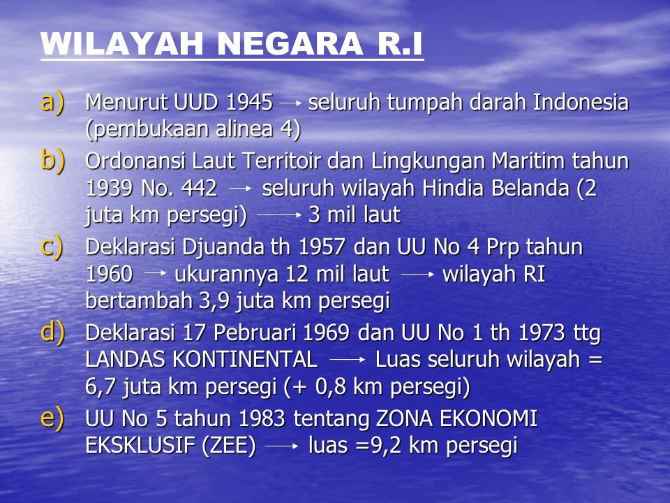 WILAYAH NEGARA R.I a) Menurut UUD 1945 seluruh tumpah darah Indonesia (pembukaan alinea 4) b) Ordonansi Laut Territoir dan Lingkungan Maritim tahun 19