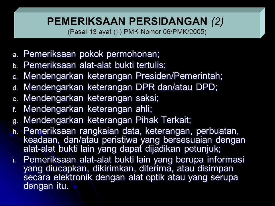 a. Pemeriksaan pokok permohonan; b. Pemeriksaan alat-alat bukti tertulis; c. Mendengarkan keterangan Presiden/Pemerintah; d. Mendengarkan keterangan D