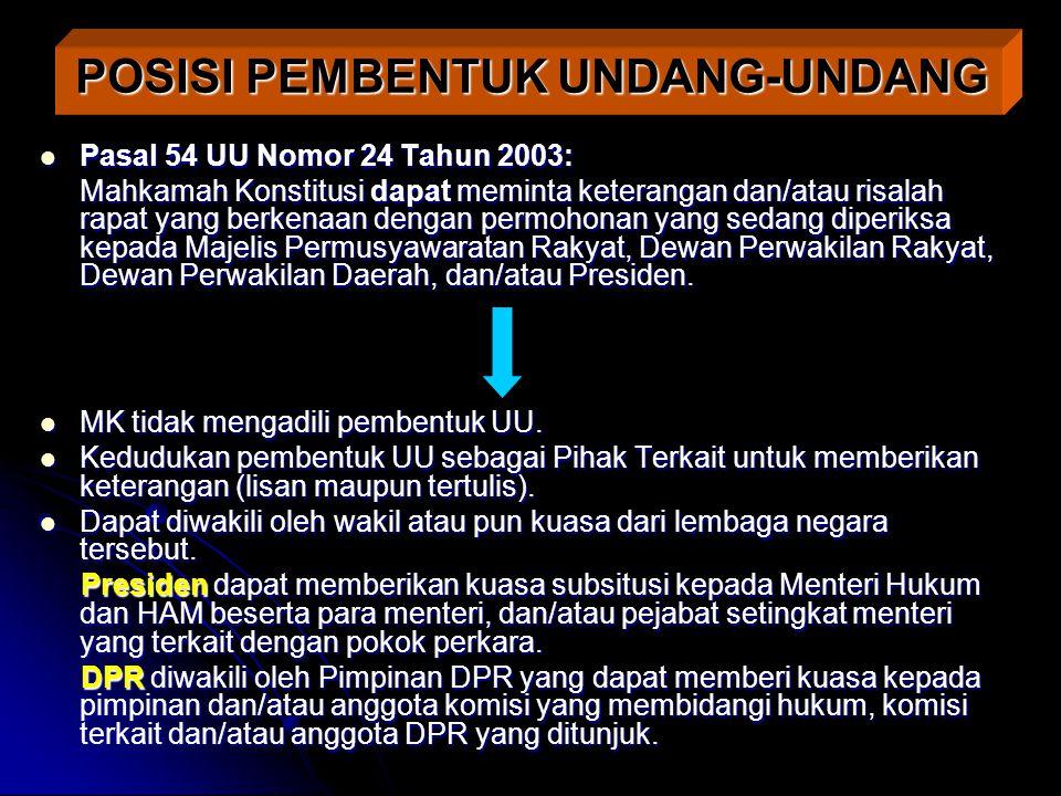 Pasal 54 UU Nomor 24 Tahun 2003: Pasal 54 UU Nomor 24 Tahun 2003: Mahkamah Konstitusi dapat meminta keterangan dan/atau risalah rapat yang berkenaan d