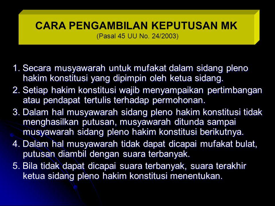 1. Secara musyawarah untuk mufakat dalam sidang pleno hakim konstitusi yang dipimpin oleh ketua sidang. 2. Setiap hakim konstitusi wajib menyampaikan