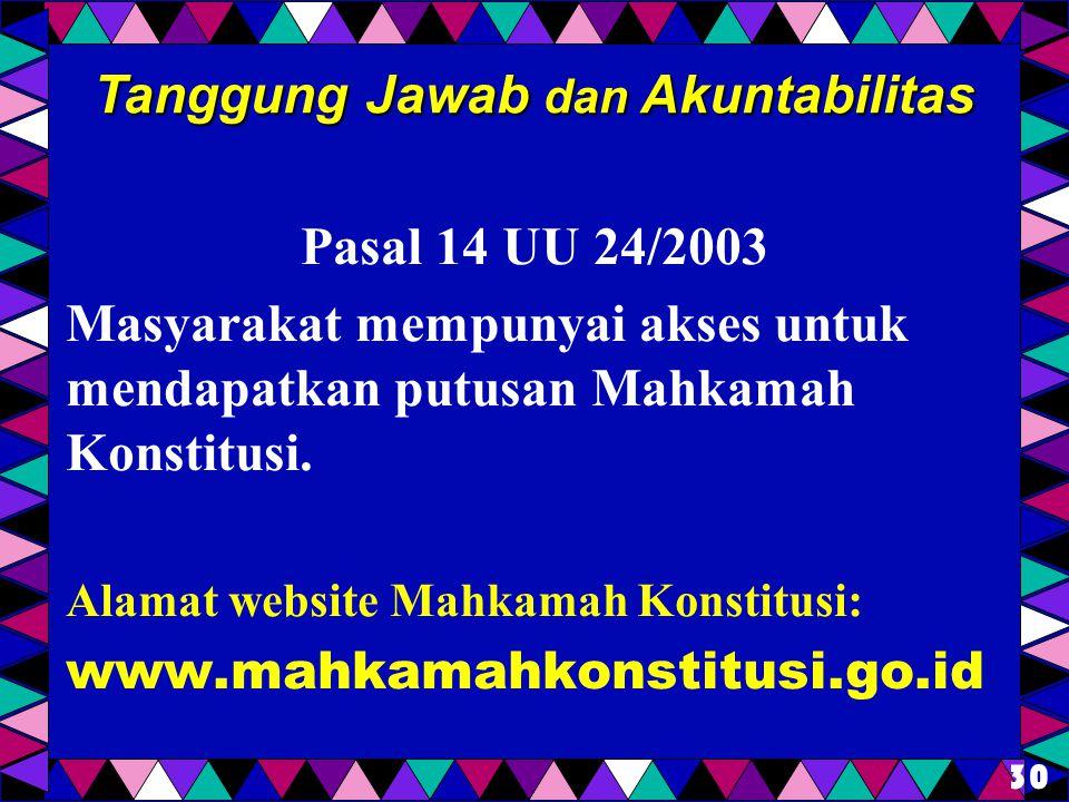 Pasal 14 UU 24/2003 Masyarakat mempunyai akses untuk mendapatkan putusan Mahkamah Konstitusi. Alamat website Mahkamah Konstitusi: www.mahkamahkonstitu