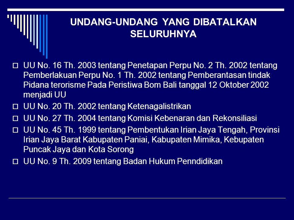 UNDANG-UNDANG YANG DIBATALKAN SELURUHNYA  UU No. 16 Th. 2003 tentang Penetapan Perpu No. 2 Th. 2002 tentang Pemberlakuan Perpu No. 1 Th. 2002 tentang