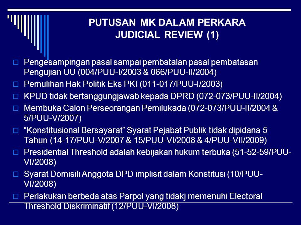 PUTUSAN MK DALAM PERKARA JUDICIAL REVIEW (1)  Pengesampingan pasal sampai pembatalan pasal pembatasan Pengujian UU (004/PUU-I/2003 & 066/PUU-II/2004)