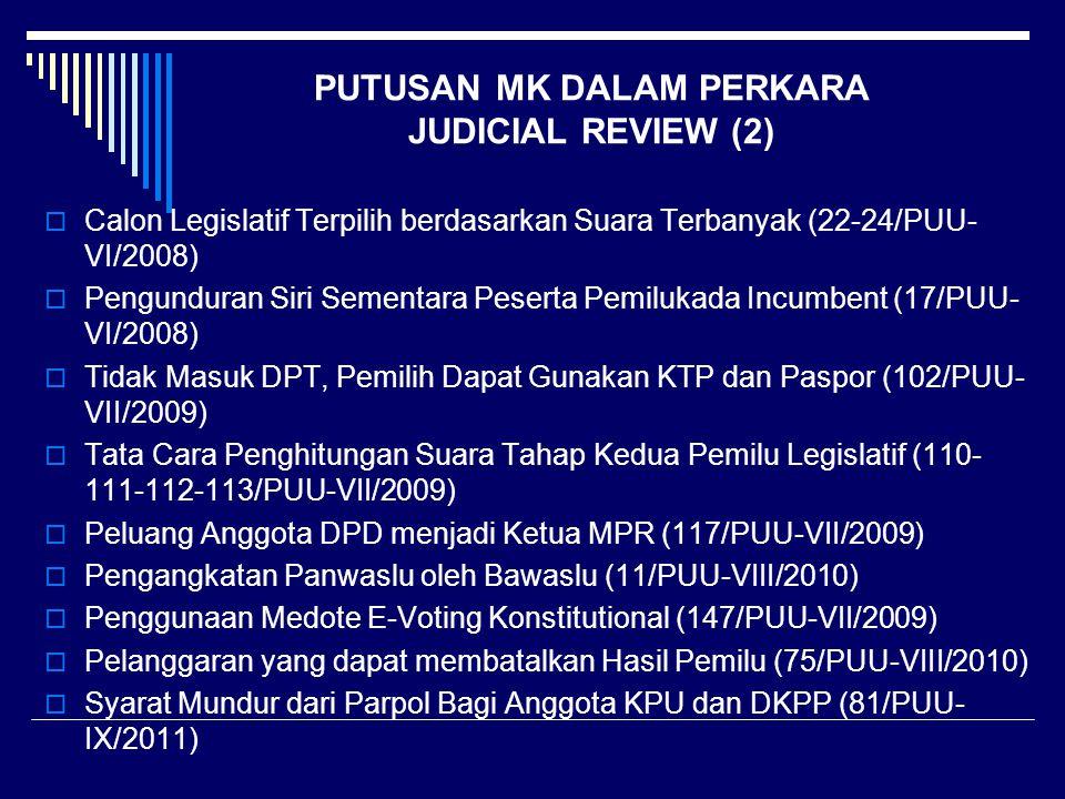 PUTUSAN MK DALAM PERKARA JUDICIAL REVIEW (2)  Calon Legislatif Terpilih berdasarkan Suara Terbanyak (22-24/PUU- VI/2008)  Pengunduran Siri Sementara