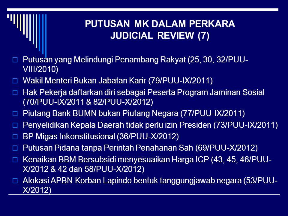 PUTUSAN MK DALAM PERKARA JUDICIAL REVIEW (7)  Putusan yang Melindungi Penambang Rakyat (25, 30, 32/PUU- VIII/2010)  Wakil Menteri Bukan Jabatan Kari