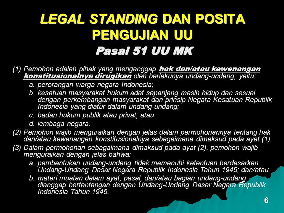 LEGAL STANDING DAN POSITA PENGUJIAN UU 6 Pasal 51 UU MK (1)Pemohon adalah pihak yang menganggap hak dan/atau kewenangan konstitusionalnya dirugikan ol