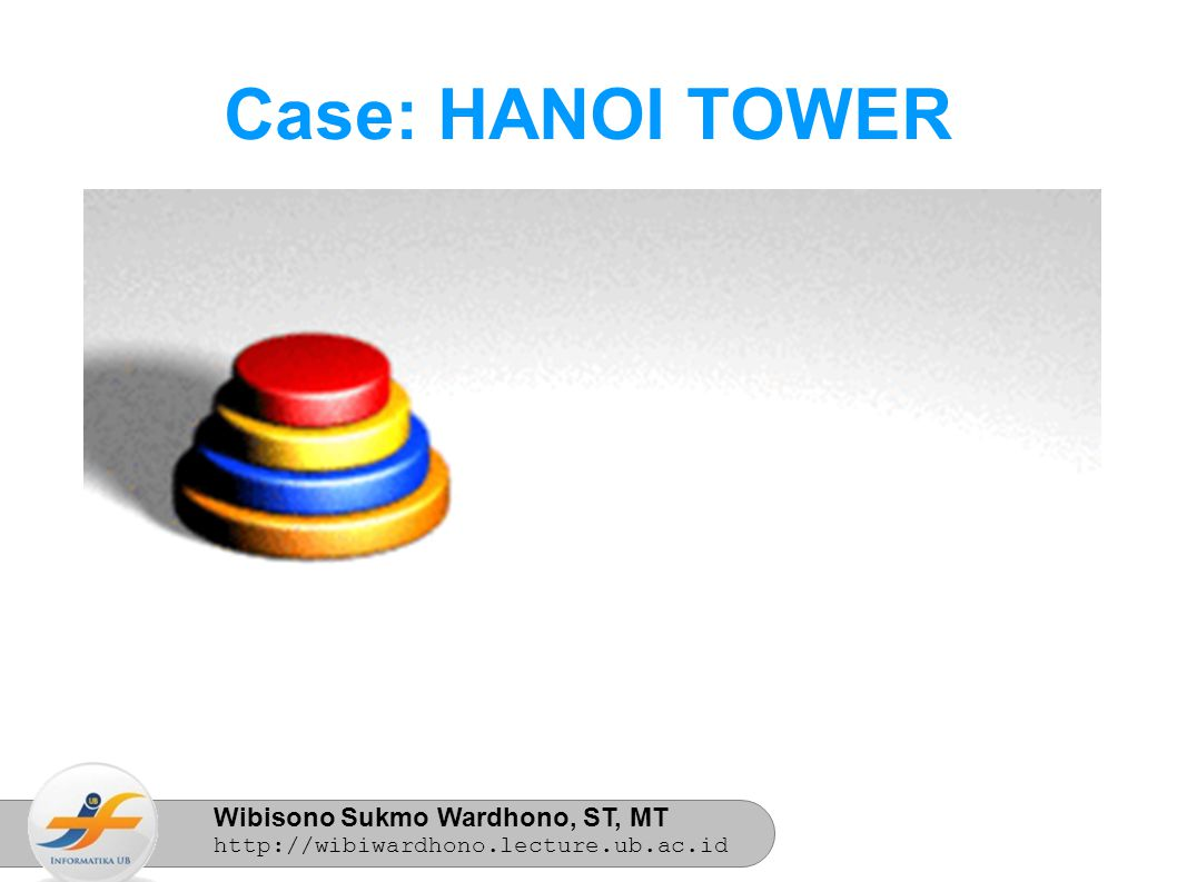 Wibisono Sukmo Wardhono, ST, MT http://wibiwardhono.lecture.ub.ac.id Case: HANOI TOWER