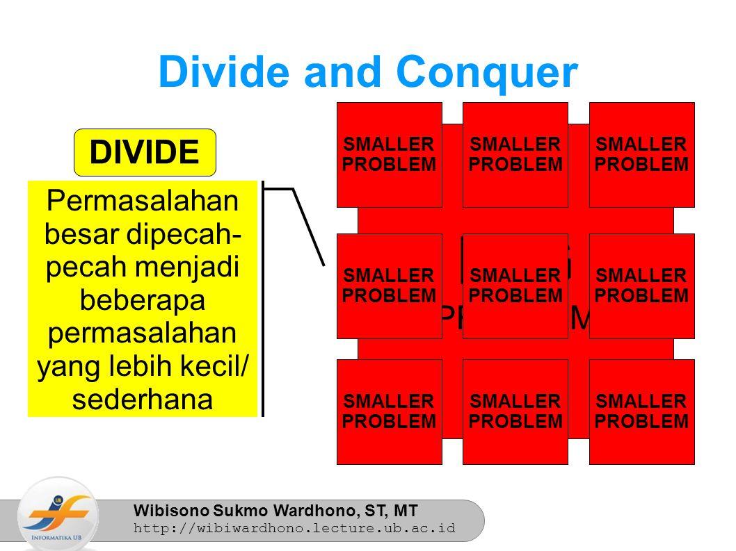 Wibisono Sukmo Wardhono, ST, MT http://wibiwardhono.lecture.ub.ac.id BIG PROBLEM SMALLER PROBLEM SMALLER PROBLEM SMALLER PROBLEM SMALLER PROBLEM SMALLER PROBLEM SMALLER PROBLEM SMALLER PROBLEM SMALLER PROBLEM SMALLER PROBLEM Permasalahan besar dipecah- pecah menjadi beberapa permasalahan yang lebih kecil/ sederhana Divide and Conquer DIVIDE