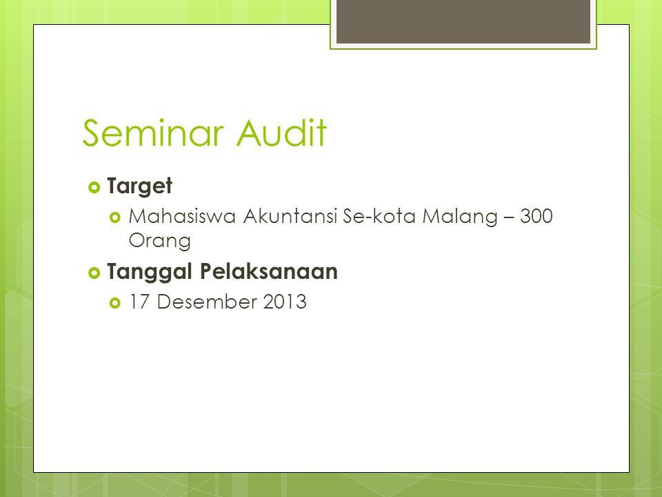 Seminar Audit  Target  Mahasiswa Akuntansi Se-kota Malang – 300 Orang  Tanggal Pelaksanaan  17 Desember 2013