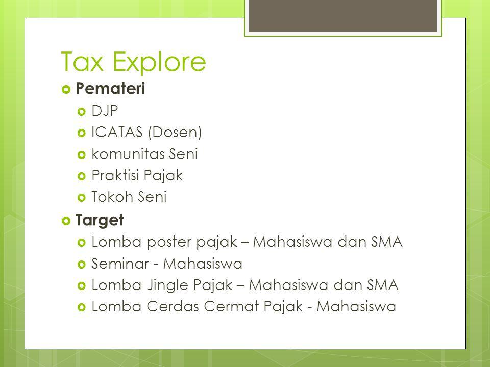 Tax Explore  Target  Lomba poster pajak – 50 Peserta  Seminar – 250 Peserta  Lomba Jingle Pajak – 20 Peserta  Lomba Cerdas Cermat Pajak – 30 Peserta  Tanggal Pelaksanaan  27 Mei 2013