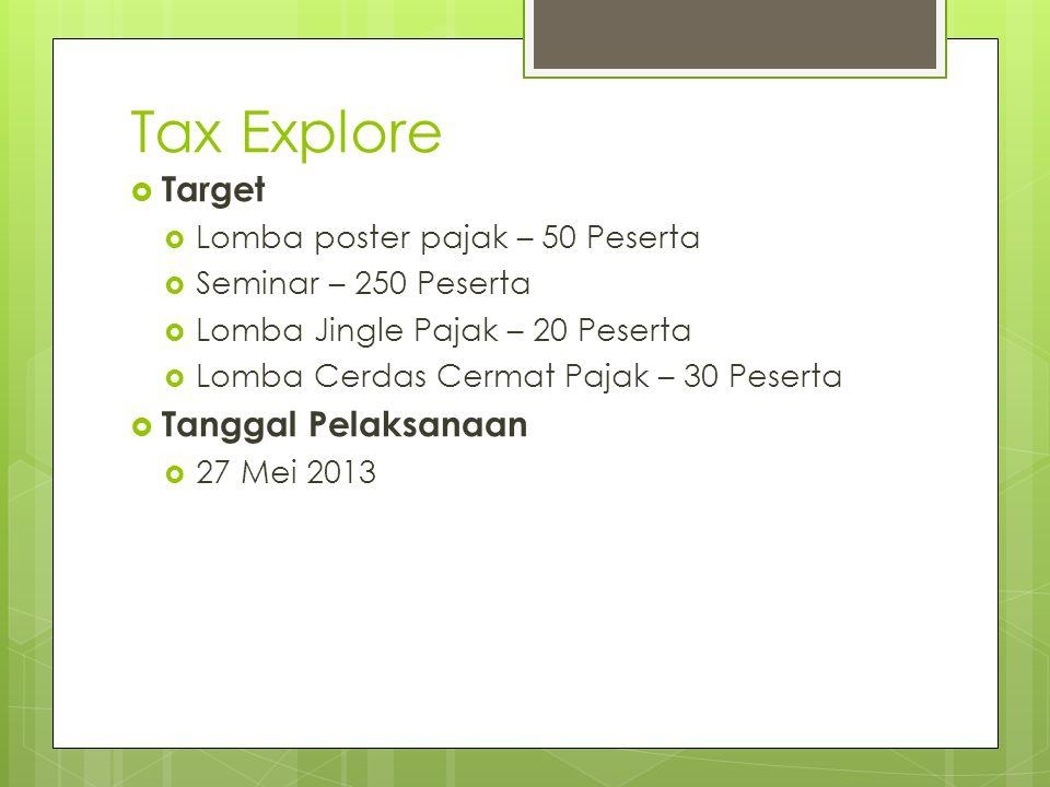 Tax Explore  Target  Lomba poster pajak – 50 Peserta  Seminar – 250 Peserta  Lomba Jingle Pajak – 20 Peserta  Lomba Cerdas Cermat Pajak – 30 Pese