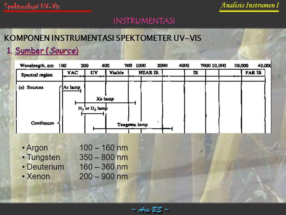 Analisis Instrumen I ~ Arie BS ~ Spektroskopi UV-Vis INSTRUMENTASI KOMPONEN INSTRUMENTASI SPEKTOMETER UV-VIS 1. Sumber (Source) Argon100 – 160 nm Tung