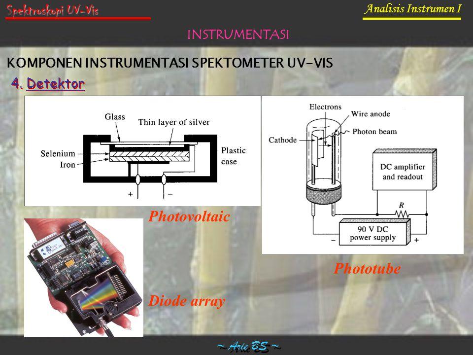 Analisis Instrumen I ~ Arie BS ~ Spektroskopi UV-Vis INSTRUMENTASI KOMPONEN INSTRUMENTASI SPEKTOMETER UV-VIS 4. Detektor Photovoltaic Phototube Diode