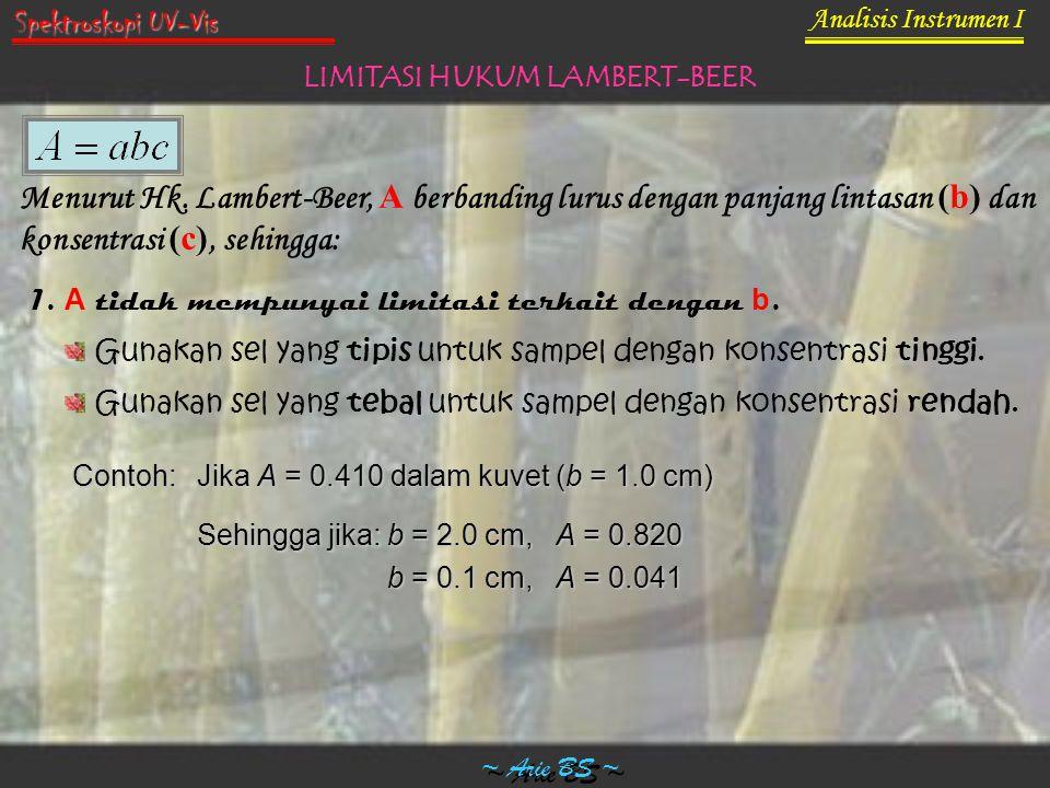 Analisis Instrumen I ~ Arie BS ~ Spektroskopi UV-Vis LIMITASI HUKUM LAMBERT-BEER Menurut Hk. Lambert-Beer, A berbanding lurus dengan panjang lintasan