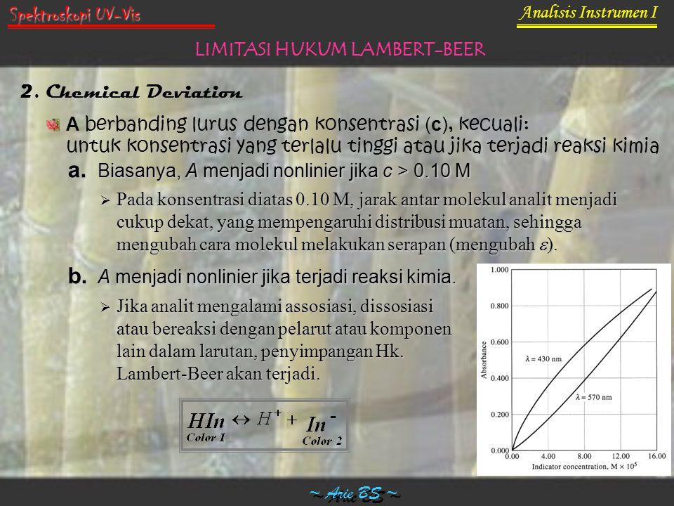 Analisis Instrumen I ~ Arie BS ~ Spektroskopi UV-Vis LIMITASI HUKUM LAMBERT-BEER 2. Chemical Deviation A berbanding lurus dengan konsentrasi (c), kecu