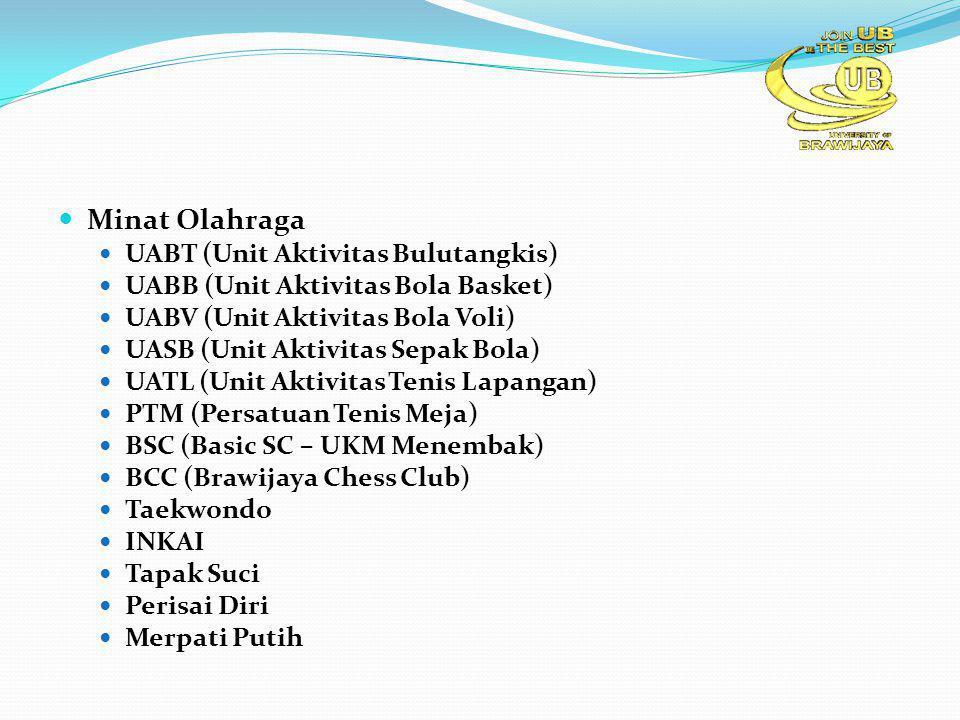 Minat Olahraga UABT (Unit Aktivitas Bulutangkis) UABB (Unit Aktivitas Bola Basket) UABV (Unit Aktivitas Bola Voli) UASB (Unit Aktivitas Sepak Bola) UATL (Unit Aktivitas Tenis Lapangan) PTM (Persatuan Tenis Meja) BSC (Basic SC – UKM Menembak) BCC (Brawijaya Chess Club) Taekwondo INKAI Tapak Suci Perisai Diri Merpati Putih