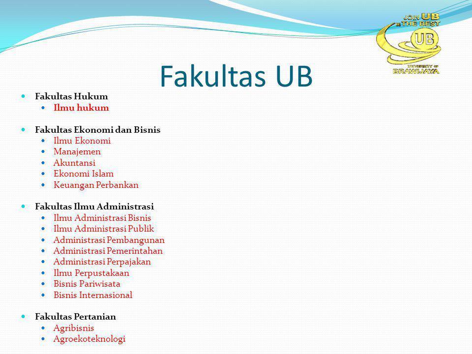 Fakultas UB Fakultas Hukum Ilmu hukum Fakultas Ekonomi dan Bisnis Ilmu Ekonomi Manajemen Akuntansi Ekonomi Islam Keuangan Perbankan Fakultas Ilmu Admi