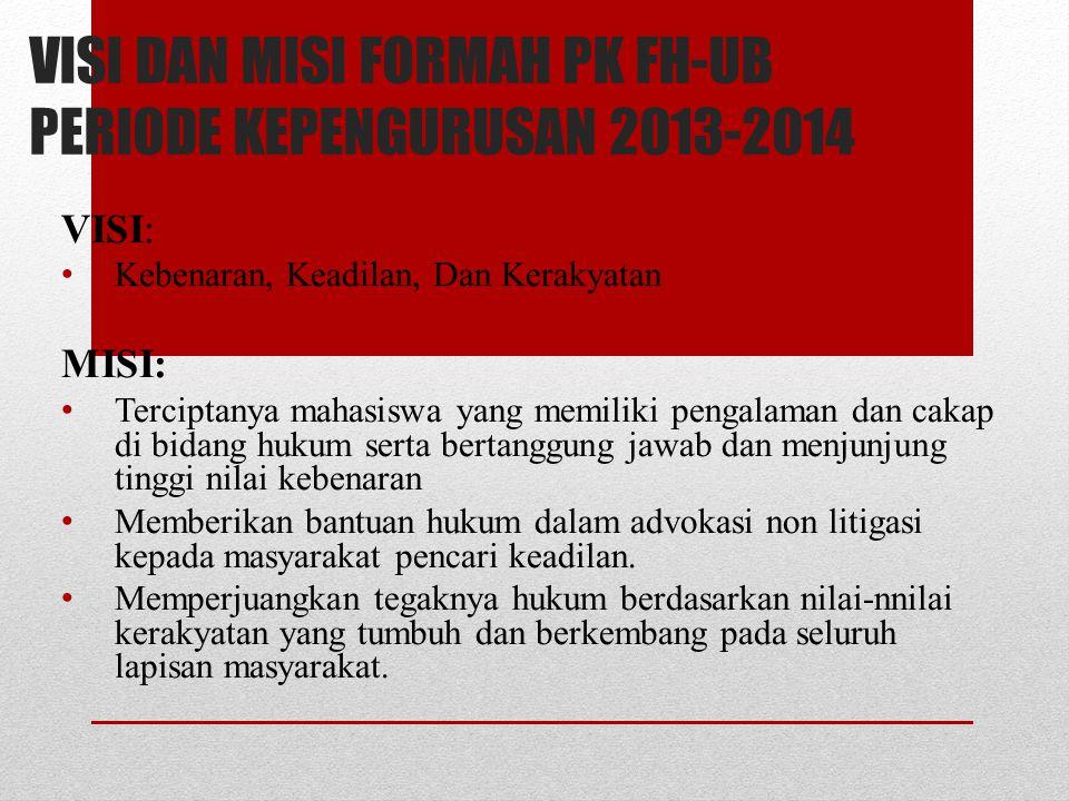 VISI DAN MISI FORMAH PK FH-UB PERIODE KEPENGURUSAN 2013-2014 VISI: Kebenaran, Keadilan, Dan Kerakyatan MISI: Terciptanya mahasiswa yang memiliki penga