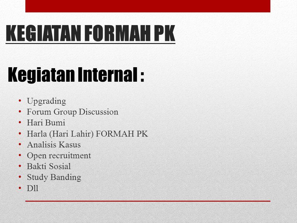 KEGIATAN FORMAH PK Kegiatan Internal : Upgrading Forum Group Discussion Hari Bumi Harla (Hari Lahir) FORMAH PK Analisis Kasus Open recruitment Bakti S
