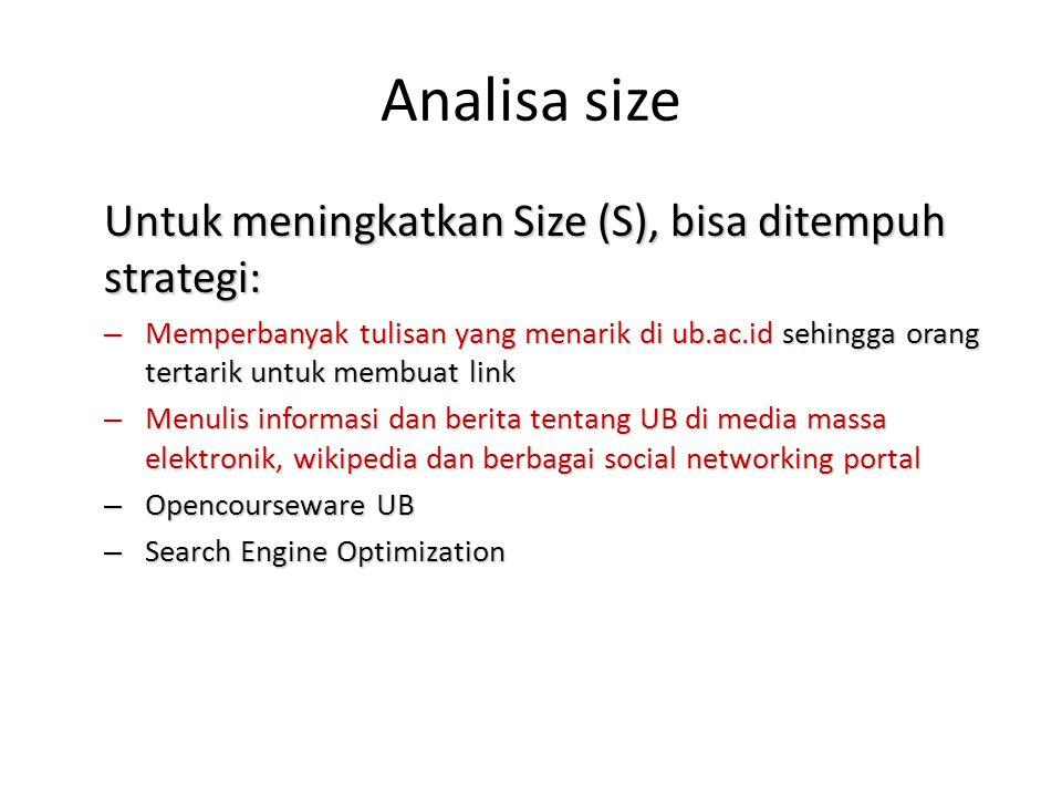 Analisa size Untuk meningkatkan Size (S), bisa ditempuh strategi: – Memperbanyak tulisan yang menarik di ub.ac.id sehingga orang tertarik untuk membua