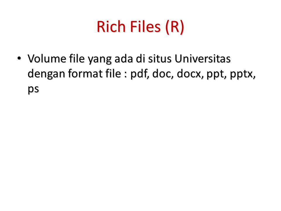 Rich Files (R) Volume file yang ada di situs Universitas dengan format file : pdf, doc, docx, ppt, pptx, ps Volume file yang ada di situs Universitas