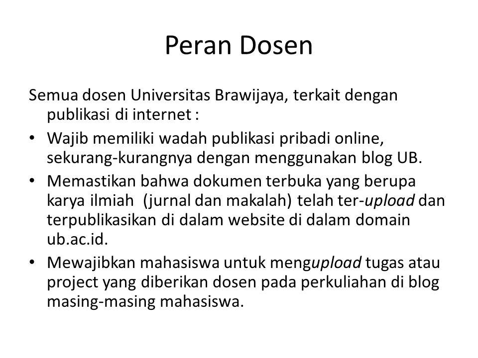 Peran Dosen Semua dosen Universitas Brawijaya, terkait dengan publikasi di internet : Wajib memiliki wadah publikasi pribadi online, sekurang-kurangny