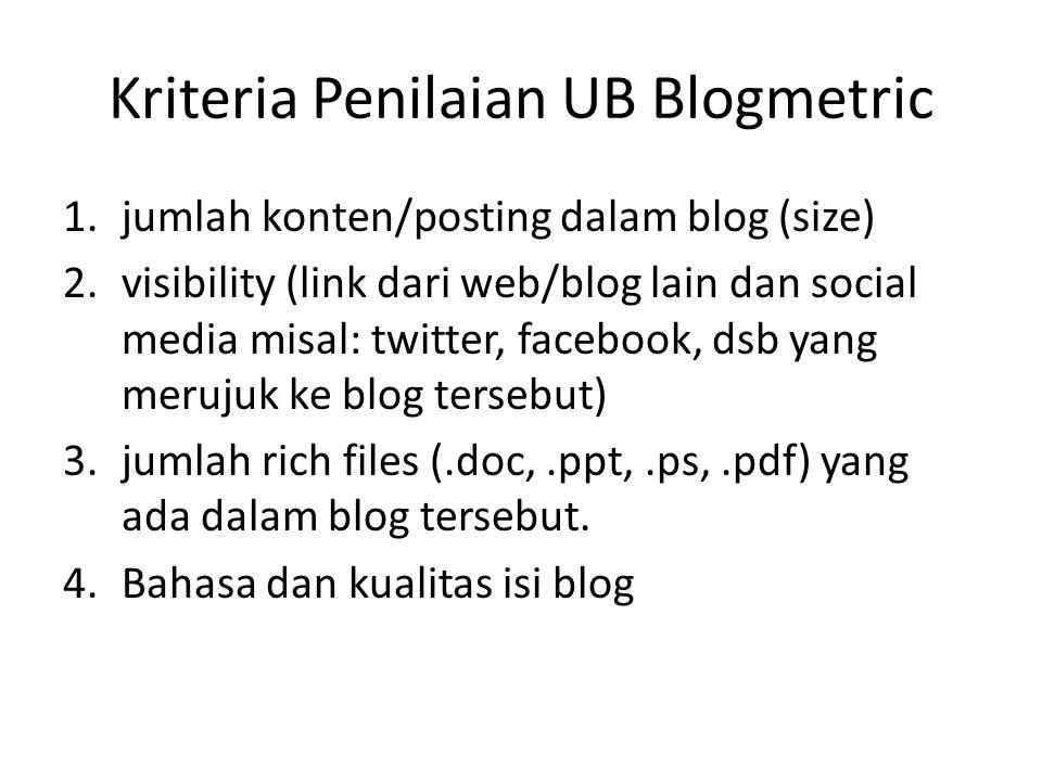 1.jumlah konten/posting dalam blog (size) 2.visibility (link dari web/blog lain dan social media misal: twitter, facebook, dsb yang merujuk ke blog te