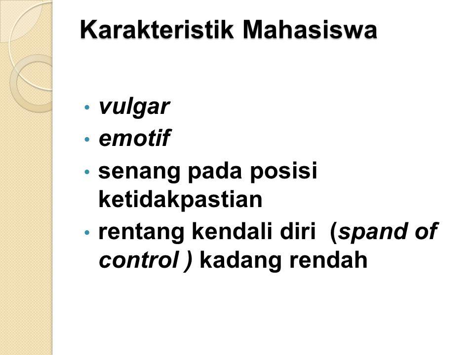 Karakteristik Mahasiswa vulgar emotif senang pada posisi ketidakpastian rentang kendali diri (spand of control ) kadang rendah