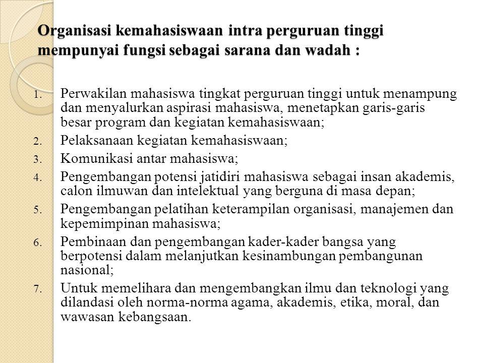 Kepmendikbud N0. 155/U/1998 = Pedoman Umum Organisasi Kemahasiswaan di Perguruan Tinggi. Pasal 1 Organisasi kemahasiswaan intra. perguruan tinggi adal