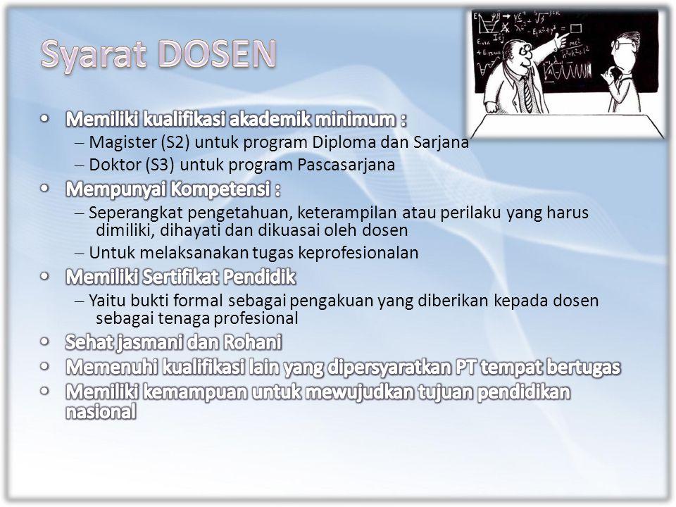 – Magister (S2) untuk program Diploma dan Sarjana – Doktor (S3) untuk program Pascasarjana – Seperangkat pengetahuan, keterampilan atau perilaku yang