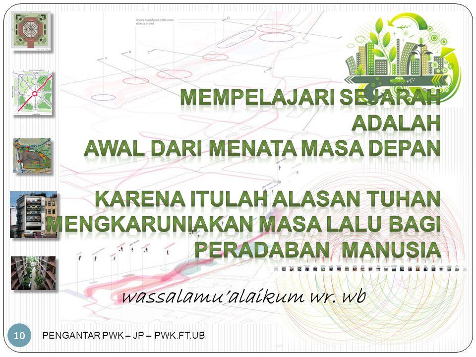 PENGANTAR PWK – JP – PWK.FT.UB 10 wassalamu'alaikum wr. wb