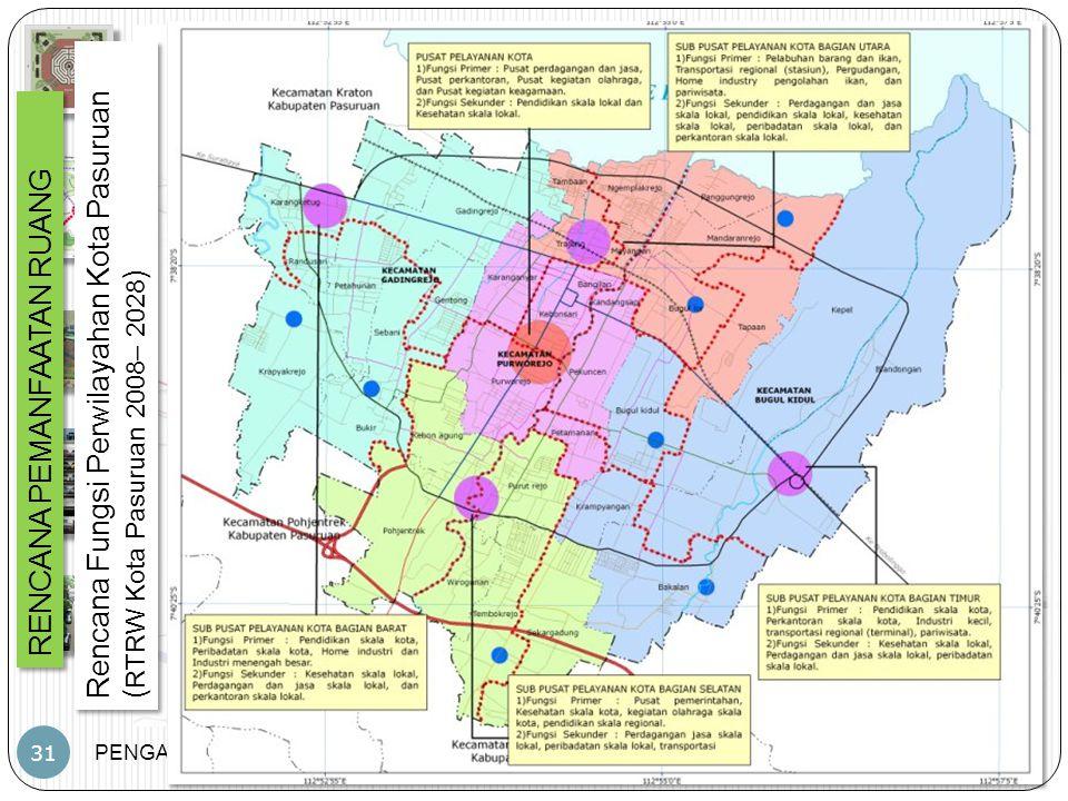 PENGANTAR PWK – JP – PWK.FT.UB 31 RENCANA PEMANFAATAN RUANG Rencana Fungsi Perwilayahan Kota Pasuruan ( RTRW Kota Pasuruan 2008– 2028 ) Rencana Fungsi