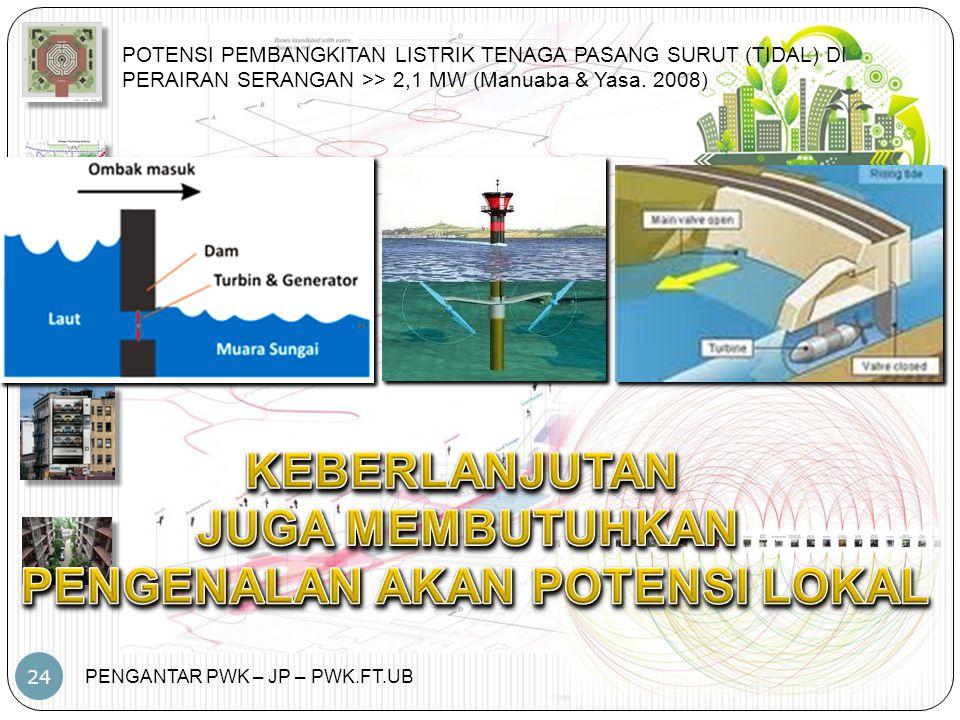 PENGANTAR PWK – JP – PWK.FT.UB 24 POTENSI PEMBANGKITAN LISTRIK TENAGA PASANG SURUT (TIDAL) DI PERAIRAN SERANGAN >> 2,1 MW (Manuaba & Yasa. 2008)