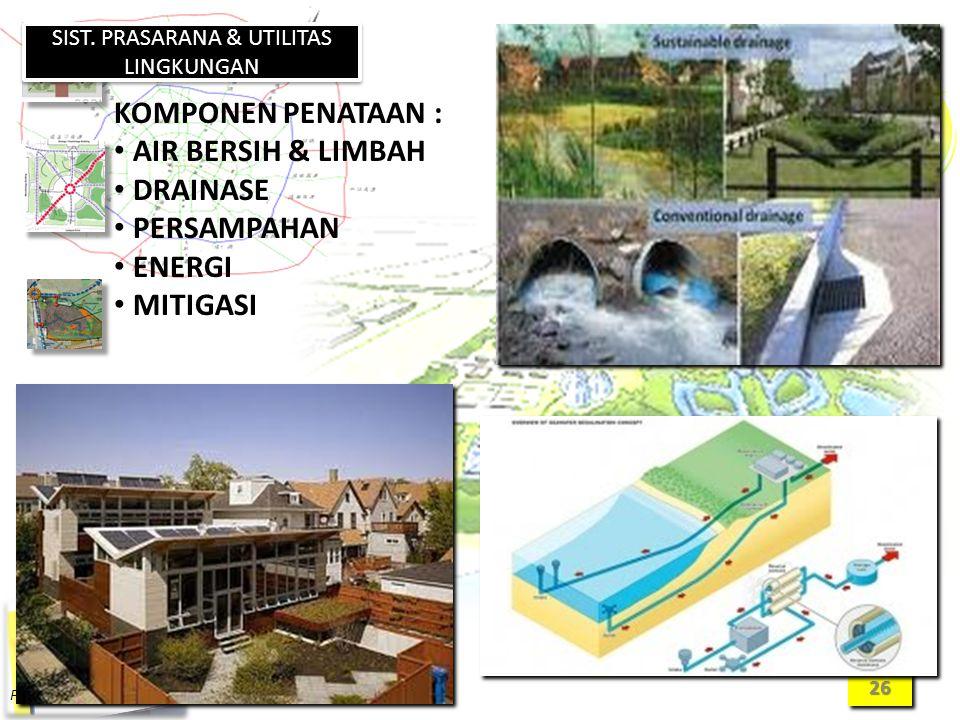 2626 SIST. PRASARANA & UTILITAS LINGKUNGAN KOMPONEN PENATAAN : AIR BERSIH & LIMBAH DRAINASE PERSAMPAHAN ENERGI MITIGASI
