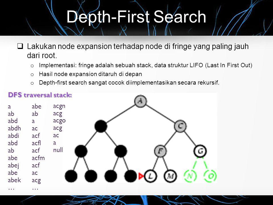 Depth-First Search  Lakukan node expansion terhadap node di fringe yang paling jauh dari root. o Implementasi: fringe adalah sebuah stack, data struk