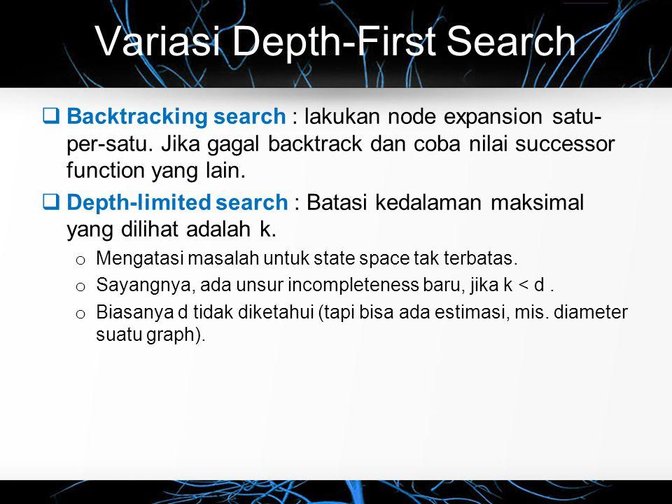 Variasi Depth-First Search  Backtracking search : lakukan node expansion satu- per-satu. Jika gagal backtrack dan coba nilai successor function yang