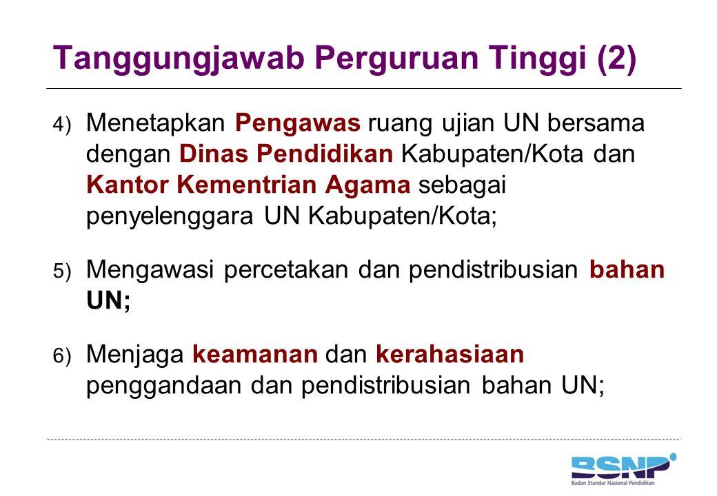 Tanggungjawab Perguruan Tinggi (2) 4) Menetapkan Pengawas ruang ujian UN bersama dengan Dinas Pendidikan Kabupaten/Kota dan Kantor Kementrian Agama se