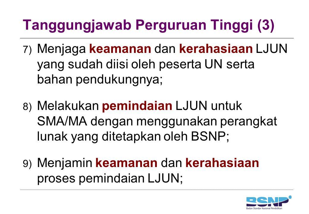 Tanggungjawab Perguruan Tinggi (3) 7) Menjaga keamanan dan kerahasiaan LJUN yang sudah diisi oleh peserta UN serta bahan pendukungnya; 8) Melakukan pe