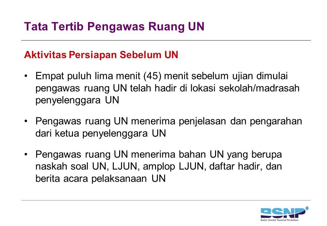 Tata Tertib Pengawas Ruang UN Aktivitas Persiapan Sebelum UN Empat puluh lima menit (45) menit sebelum ujian dimulai pengawas ruang UN telah hadir di