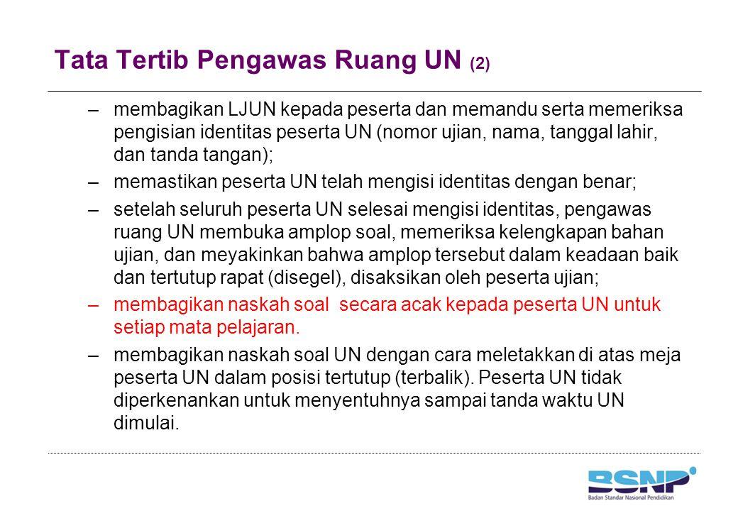 Tata Tertib Pengawas Ruang UN (2) –membagikan LJUN kepada peserta dan memandu serta memeriksa pengisian identitas peserta UN (nomor ujian, nama, tangg